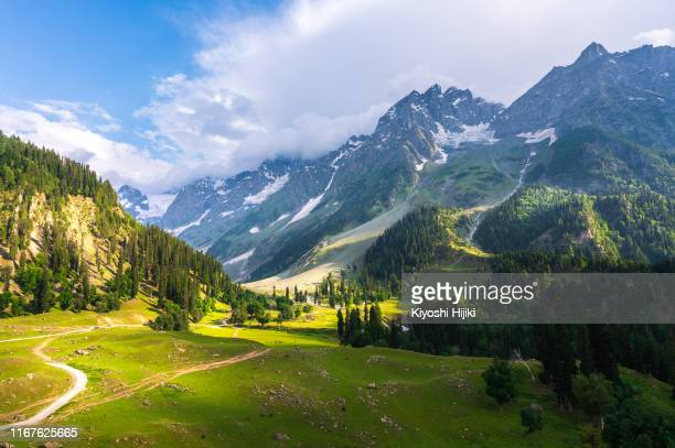 beautiful landscape view of sonamarg in thajiwas park in jammu and kashmir, india - kashmir valley stock pictures, royalty-free photos & images