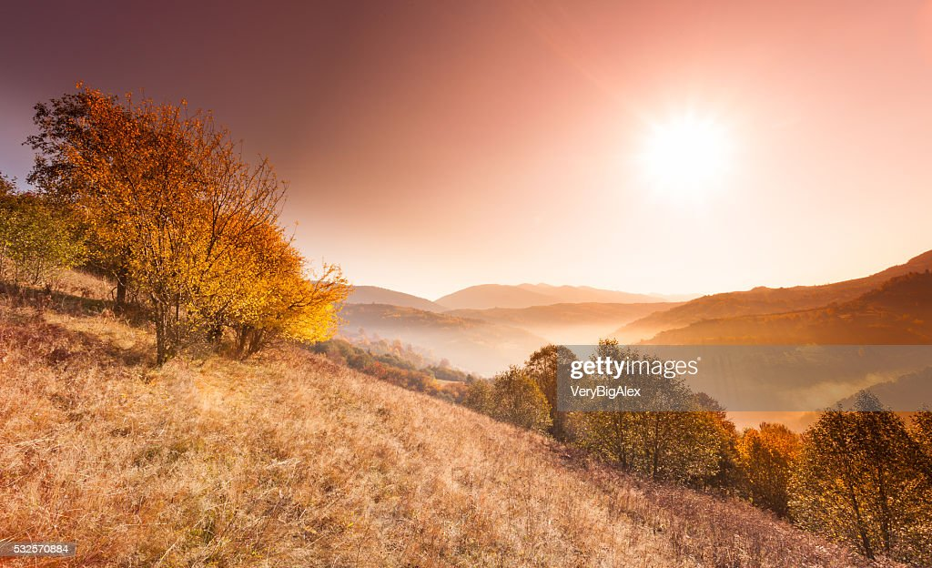 Beautiful landscape with hills and mountais : Stock Photo