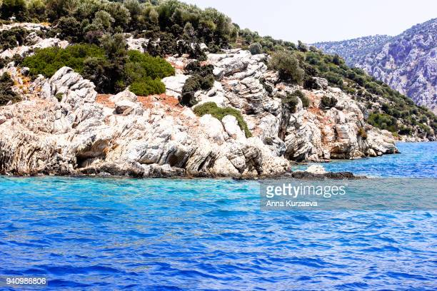 beautiful landscape with mediterranean sea and the mountains in turkey near the city marmaris. travel background. nature background. cruise trip. summer holidays. image with copy space. - países del golfo fotografías e imágenes de stock