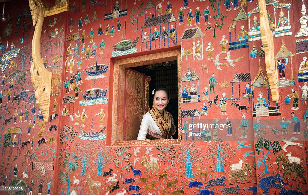 Beautiful Laos lady in traditional costume at Luang Prabang. : Stock Photo