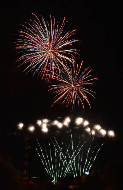 Beautiful large fireworks display at night in Chile, small and large colorful bursts
