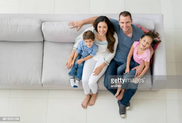 Beautiful Latin American family portrait at home