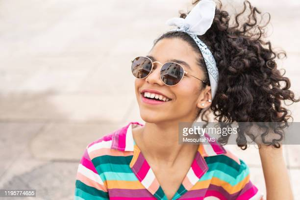 beautiful latin american teenage girl - pre adolescent child stock pictures, royalty-free photos & images