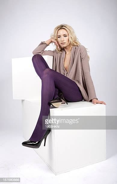 beautiful legs - models in pantyhose stock photos and pictures