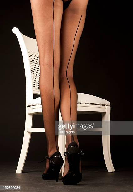 beautiful legs - nylon feet stock photos and pictures