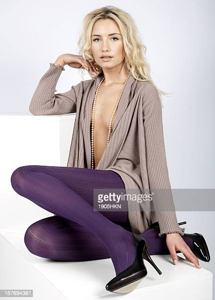 beautiful legs - women in pantyhose and high heels stock photos and pictures