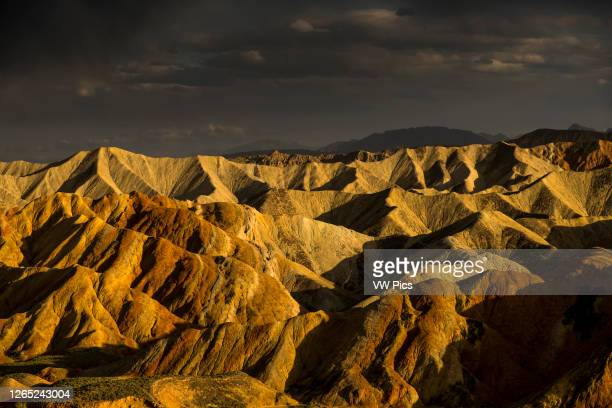 Beautiful light during sunset at the Rainbow Mountains of Zhangye Danxia National Geological Park.