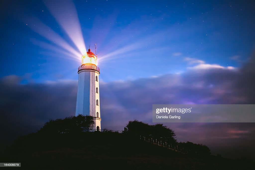 beautiful lighthouse at night : Stock Photo