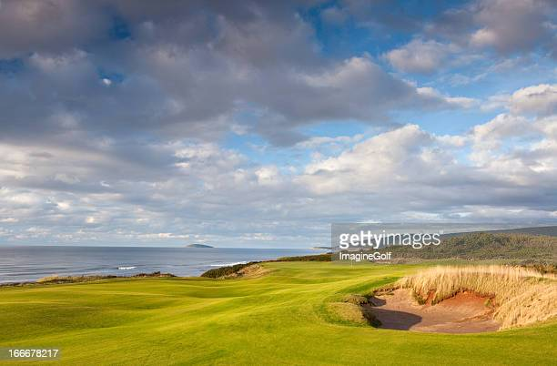 beautiful links golf course by the sea - cape breton island stock pictures, royalty-free photos & images
