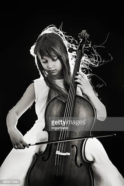 beautiful little cellist - imgorthand stock photos and pictures