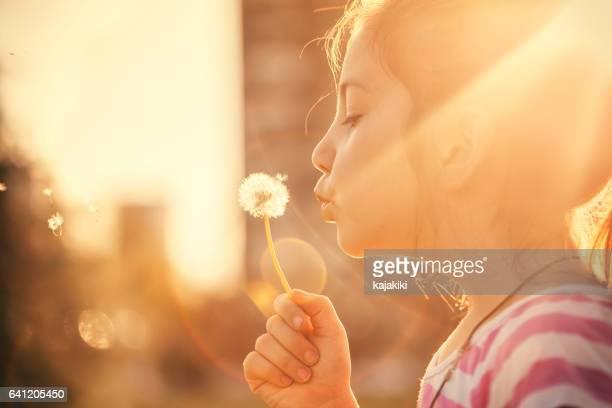 Beautiful Little Girl Blowing a Dandelion