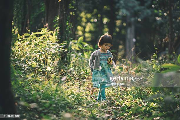 Beautiful little girl exploring forest in autumn