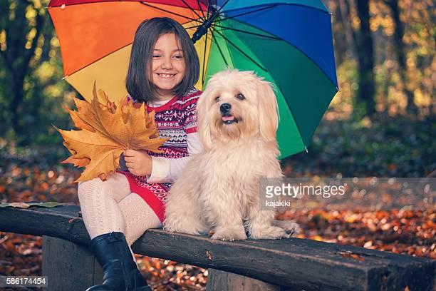Schönes Mädchen hat Spaß im Herbst-Wald