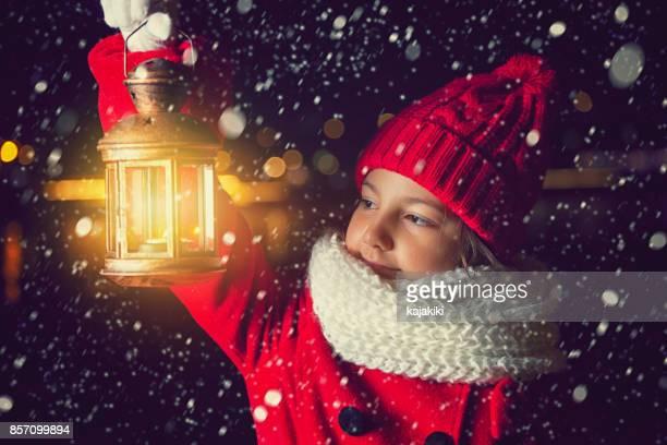 Beautiful Little Girl With Lantern Outside