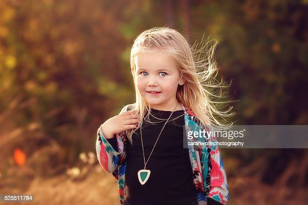 Beautiful little girl, with the wind in her hair