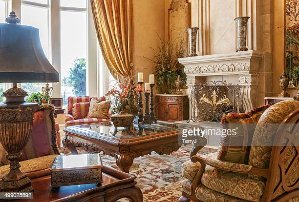beautiful living room in estate home - persian rug stock photos and pictures