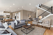Beautiful living room interior with hardwood floors and and view of kitchen in new luxury home