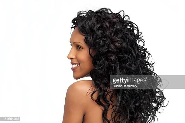 Schöne lange lockigem Haar.