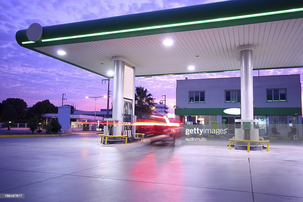 Beautiful long exposure photograph of a refueling station : Stock Photo