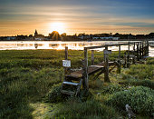 Beautiful Low tide landscape of Bosham Harbour with private jetty.