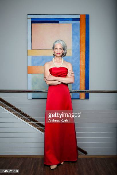 beautiful, luxurios woman in her late fifties with long, silvery, grey hair wearing an elegant, red evening gown in front of a large modern, abstract painting. - ロングドレス ストックフォトと画像