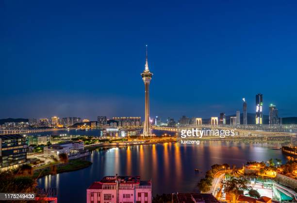 beautiful macau city skyline - tower stock pictures, royalty-free photos & images