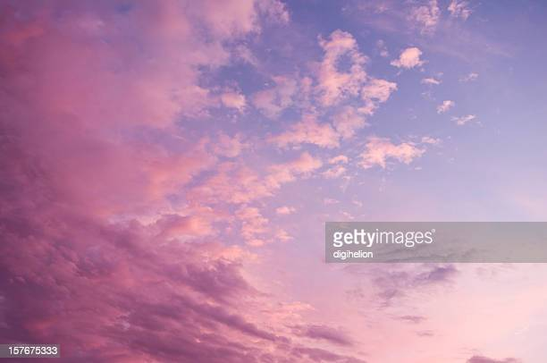 Beautiful magenta-blue sunset sky with clouds.