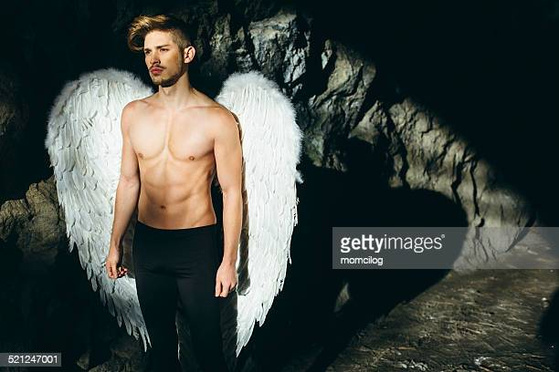 beautiful male angel - male angel stock photos and pictures