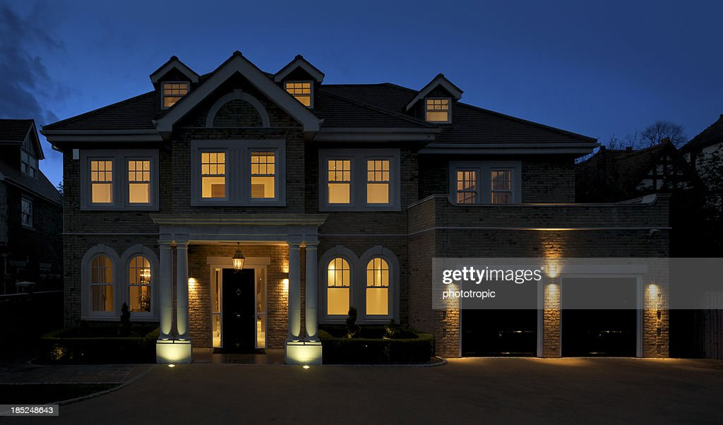beautiful mansion at dusk : Stock Photo