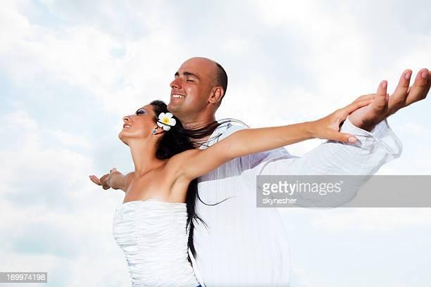美しいカップルに、スカイます。