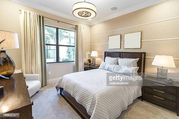 beautiful master bedroom interior - tidy room stock pictures, royalty-free photos & images