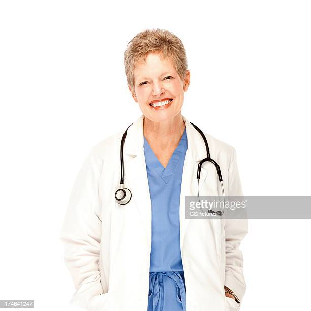 beautiful mature female doctor smiling - nurse and portrait and white background and smiling and female and looking at camera stock pictures, royalty-free photos & images