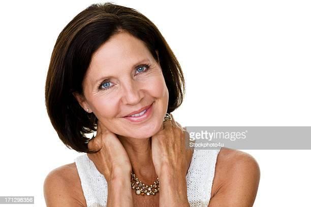 belle femme d'âge mûr - femme 50 ans brune photos et images de collection