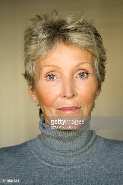 beautiful mature woman - gray eyes stock pictures, royalty-free photos & images