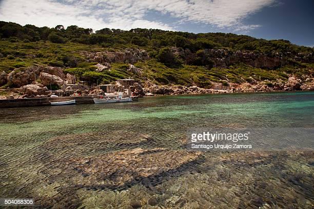 Beautiful Mediterranean Sea in the cove Cala d'Algaiarens, Menorca, Balearic Islands, Spain