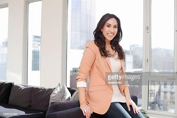 Beautiful Middle Eastern Woman Portrait in Bright Loft, Copy Space