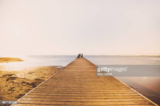 Beautiful minimal landscape with wood pier over the Mediterranean Sea in the Ebro Delta during sunset light with people in a beautiful tranquility pic.