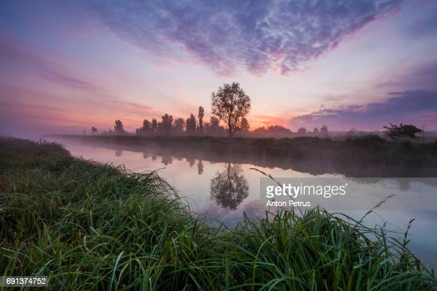 Beautiful misty dawn in the spring on the river