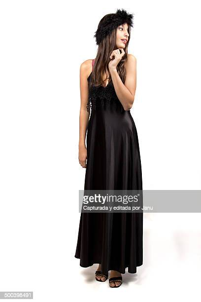 Beautiful model girl with long black dress