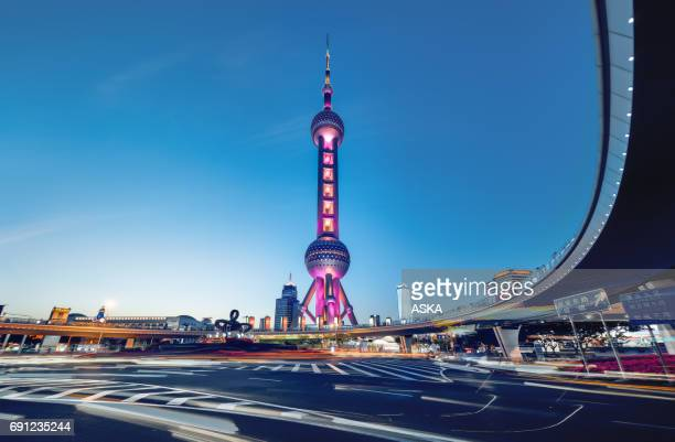beautiful modern cityscape at night in shanghai,Œchina - oriental pearl tower shanghai stock pictures, royalty-free photos & images