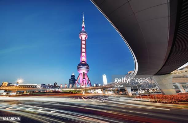 Beautiful modern cityscape at night in Shanghai,ŒChina
