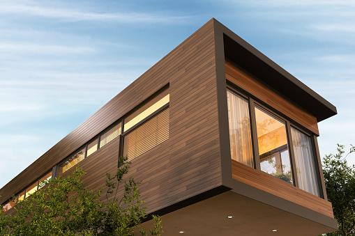 Beautiful modern house and beautiful sky 1150277961