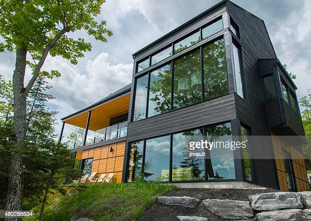 beautiful modern house in the forest, outdoor - house stock pictures, royalty-free photos & images
