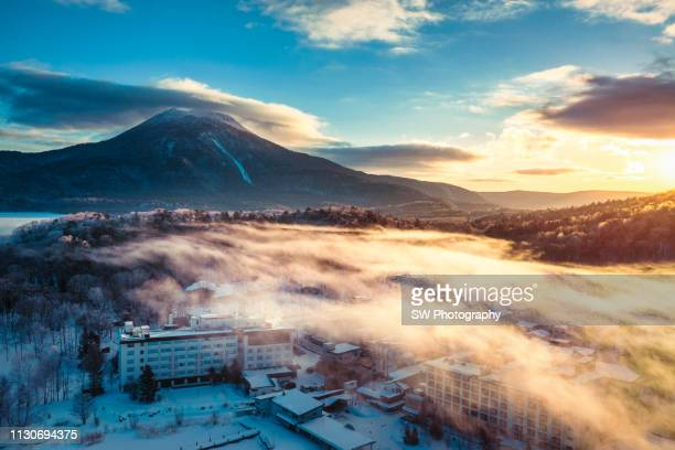 beautiful morning in akan lake and mountain oakan - hokkaido stock pictures, royalty-free photos & images