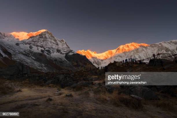Beautiful morning light on Annapurna range taking from Annapurna Base Camp.