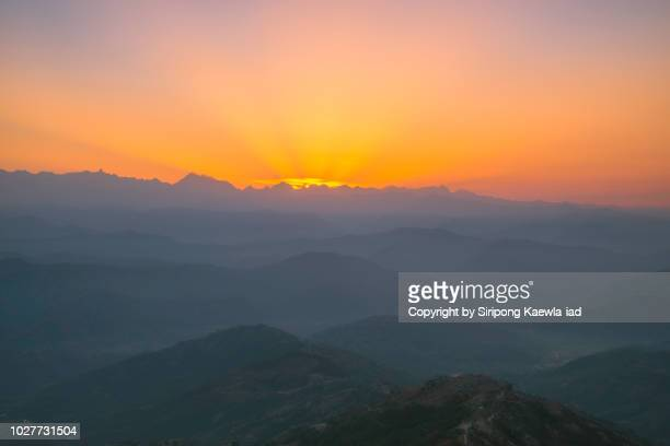 beautiful morning light rays in nagarkot, nepal. - base camp stock pictures, royalty-free photos & images
