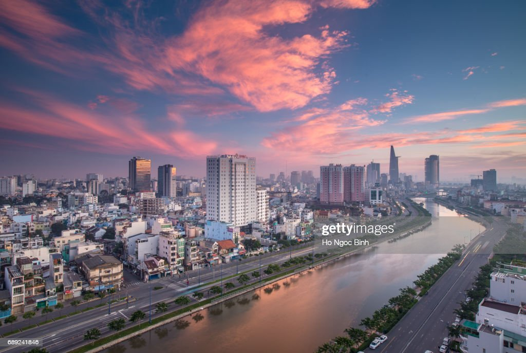 Beautiful Morning over Downtown Saigon - the biggest city in Vietnam : Stock Photo