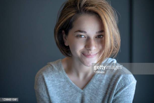 beautiful morning portrait - no make up stock pictures, royalty-free photos & images