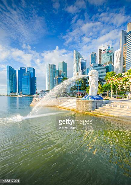 beautiful morning sunshine in merlion park singapore - merlion stock pictures, royalty-free photos & images