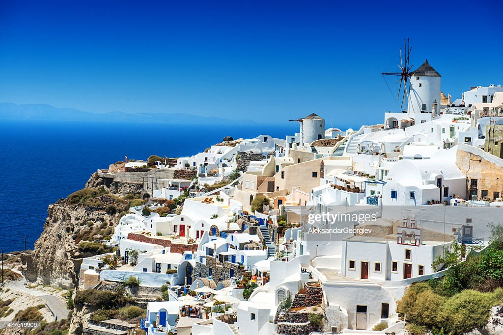 Beautiful Morning view of Oia, Santorini, Greece : Stock Photo